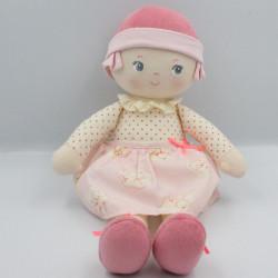 Doudou poupée chiffon rose blanc écru coeurs COROLLE