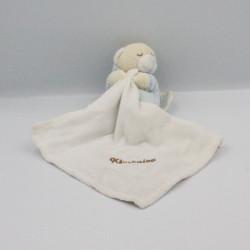 Doudou ours bleu rayé avec mouchoir KIMBALOO