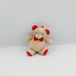 Doudou porte clef ours beige rouge YVES ROCHER