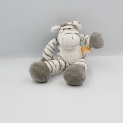 Doudou zèbre blanc gris KIMBALOO