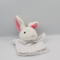 Doudou marionnette lapin blanc rose