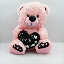 Grande peluche ours rose noir coeur love SANDY