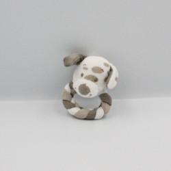 Doudou hochet chien blanc beige Max Noa et Tom NATTOU