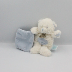 Doudou ours blanc bleu mouchoir bleu BABY NAT
