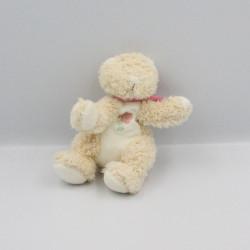 Doudou chat ours beige blanc rose fleur BENGY 20 cm