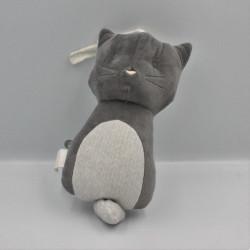 Doudou musical chat gris blanc OBAIBI