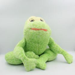 Ancienne peluche grenouille verte AJENA