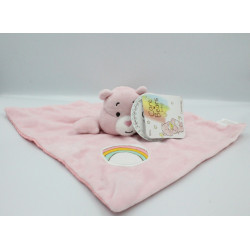 Doudou plat ours rose Bisounours CARE BEARS