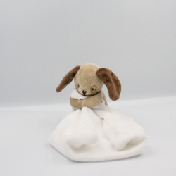 Doudou chien beige marron mouchoir JACADI