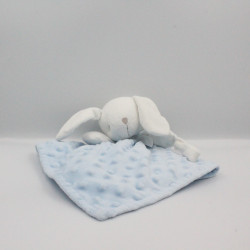 Doudou plat lapin blanc bleu KING BEAR
