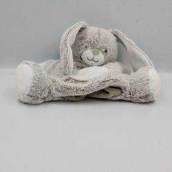 Doudou marionnette lapin beige marron blanc TEX BABY