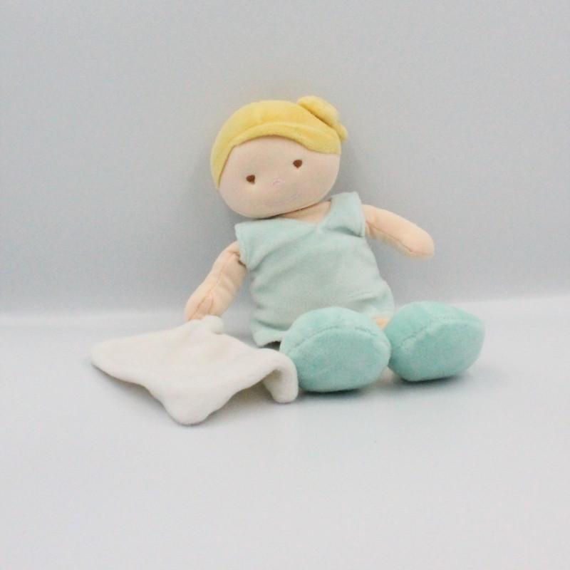 Doudou poupée fille bleu mouchoir BABY NAT