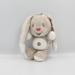 Doudou lapin beige blanc étoiles AUCHAN BABY