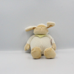 Doudou musical mouton agneau blanc beige foulard vert BENGY