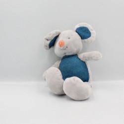 Doudou souris gris bleu blanc LUC ET LEA