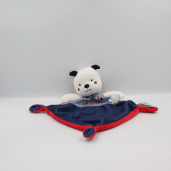 Doudou plat ours blanc bleu rouge la super équipe MOTS D'ENFANTS
