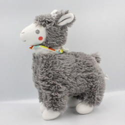 Doudou peluche lama gris foulard NICOTOY
