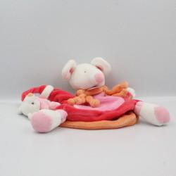 Doudou et compagnie marionnette souris rose orange microfibre