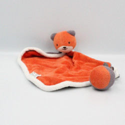 Doudou plat ours chat orange violet NATURE ET DECOUVERTE