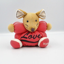 Doudou souris beige rouge love KALOO