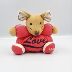 Doudou souris beige rouge love KALOO