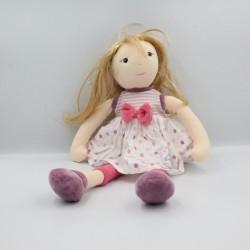Doudou et compagnie poupée fille rose violet pois rayé Demoiselle Doudou