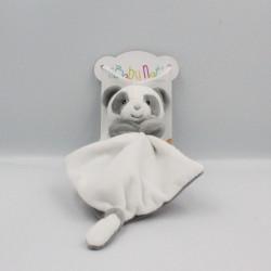 Doudou panda gris blanc mouchoir BABY NAT