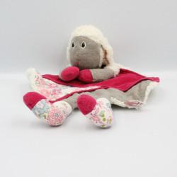 Doudou plat mouton blanc gris rose fleurs TRUDI