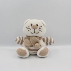 Doudou chat blanc beige laine TINY TREASURES