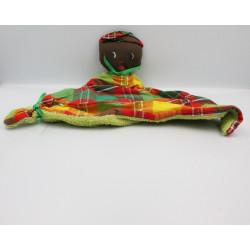 Doudou plat poupée métis carreaux vert orange rouge jaune éponge