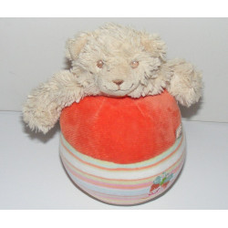 Doudou culbuto chien beige Scuba noeuds rose NOUKIE'S