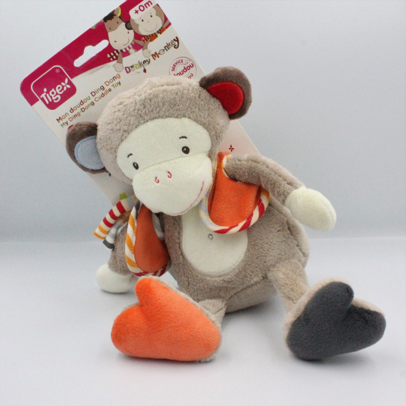 Doudou singe beige orange rouge bleu TIGEX