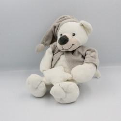 Doudou musical ours blanc beige gris étoile BOUTCHOU BOUT'CHOU