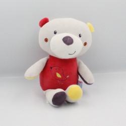 Doudou ours gris rouge jaune violet oiseau SUCRE D'ORGE