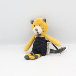 Petit Doudou chat bleu jaune Les Moustaches MOULIN ROTY