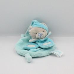 Doudou plat luminescent ours gris bleu col pétale étoiles BABY NAT