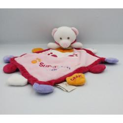 Doudou plat ours rose Super Doudou BABY NAT