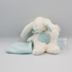 Doudou lapin blanc bleu avec mouchoir BABY NAT