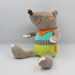 Doudou chien loup marron vert bleu orange BABYSUN