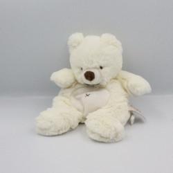 Doudou ours blanc nez marron tout doux BABY NAT