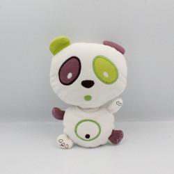 Doudou panda blanc vert rose prune PANDI PANDA