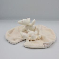 Doudou plat nénuphar écru beige canard Edouard MOULIN ROTY