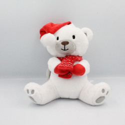 Doudou Ours blanc gris rouge SERGENT MAJOR