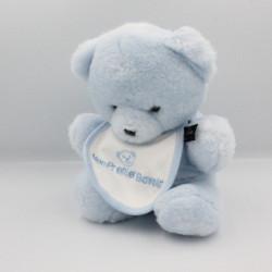 Doudou peluche ours bleu mon premier bavoir HISTOIRE D'OURS