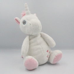 Doudou musical licorne blanche rose étoiles TEX