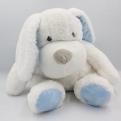 Doudou peluche chien blanc bleu MES PETITS CAILLOUX