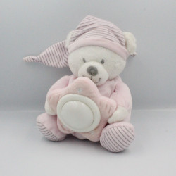 Doudou veilleuse ours rose blanc rayé MAX ET SAX