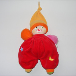 Doudou clown jaune orange rouge lune étoile COROLLE