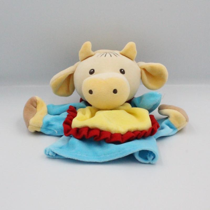 Doudou marionnette vache bleu tablier jaune NOUNOURS