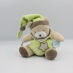Doudou ours beige vert marron étoile luminescent BABY NAT